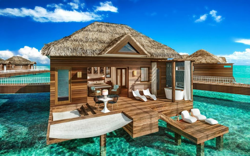 architectural design of a bungalow at Sandals South Coast, Jamaica