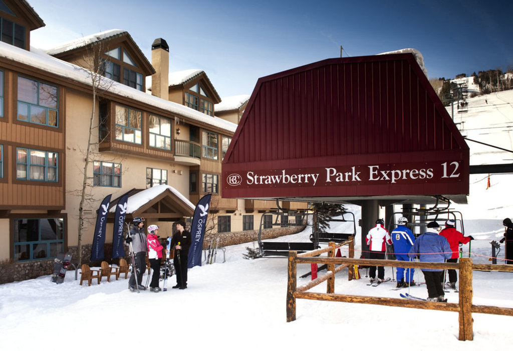 the outside of osprey hotel next to the strawberry park express chairlift at beaver creek resort, colorado
