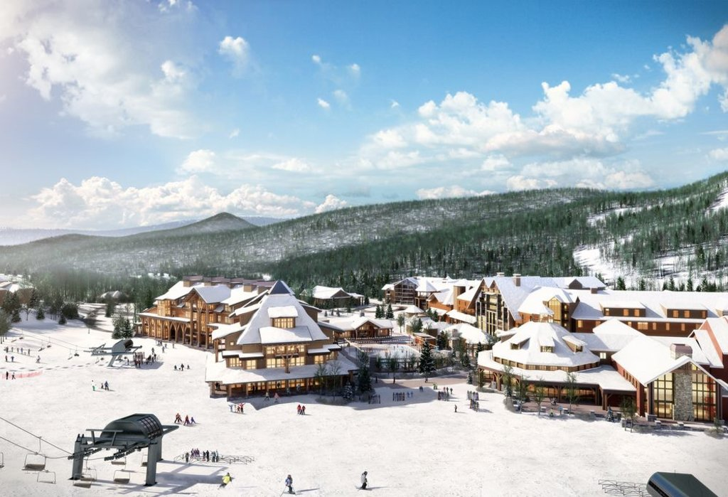 view of stowe mountain lodge from the slopes, vermont