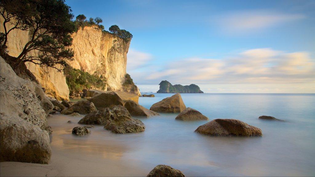 Bahía Stingray ofreciendo una playa de arena, vistas generales de la costa y costa rocosa