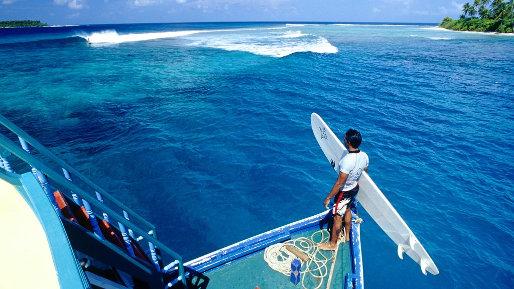Maldives which includes general coastal views, a bay or harbor and surfing