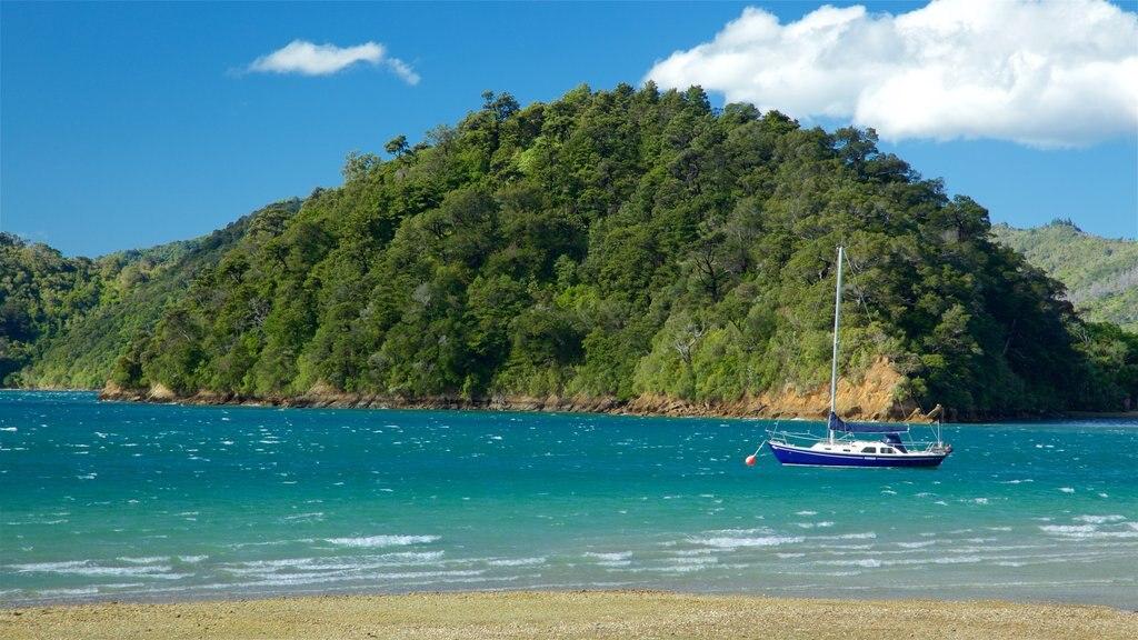 Picton ofreciendo una playa de guijarros, navegación y una bahía o puerto