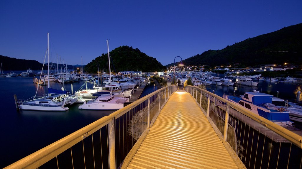 Picton Harbour showing night scenes and a marina