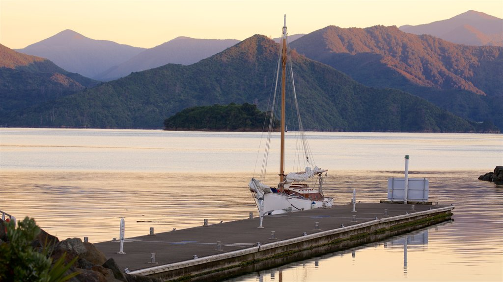 Picton featuring a sunset, mountains and sailing