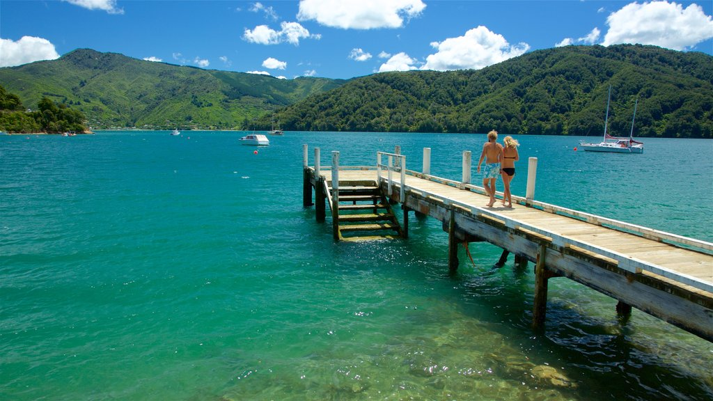 Picton showing a bay or harbor, mountains and forests