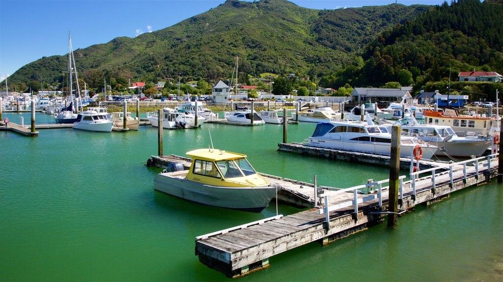Marlborough que incluye montañas, escenas forestales y una marina