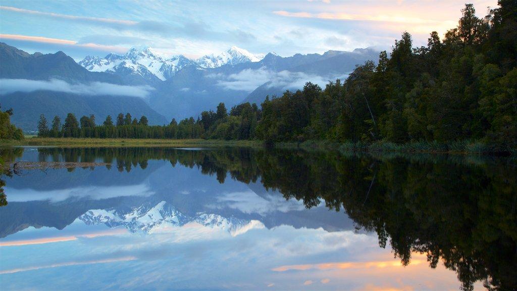 Fox Glacier mostrando montañas, un lago o abrevadero y escenas forestales