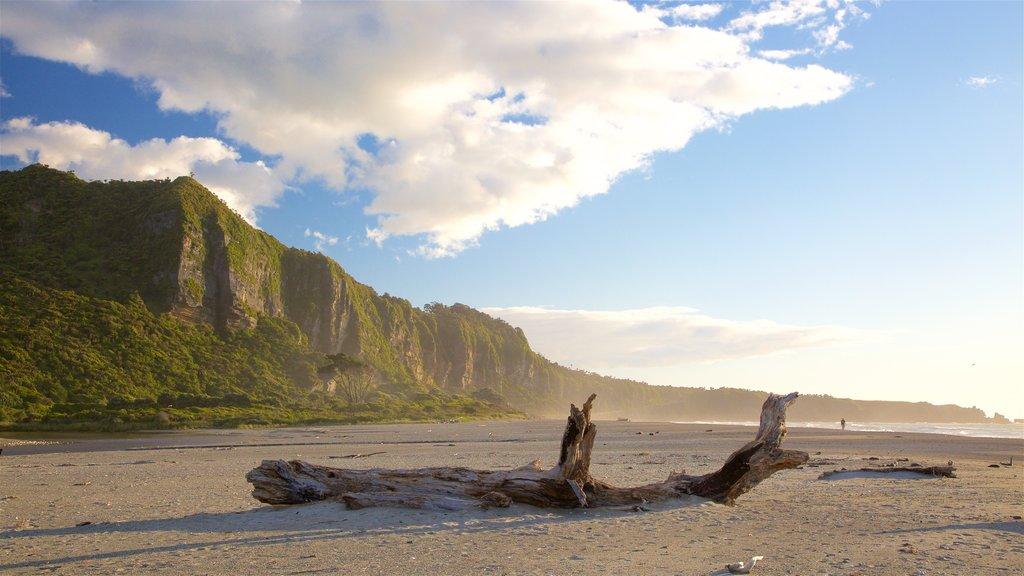 West Coast New Zealand showing mist or fog, a beach and rugged coastline