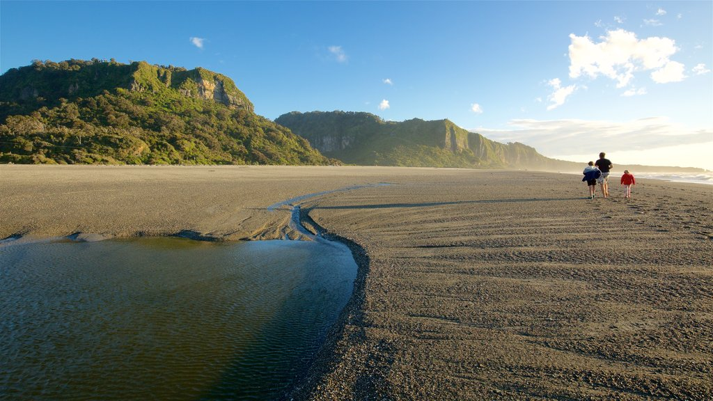Punakaiki which includes a beach and rugged coastline