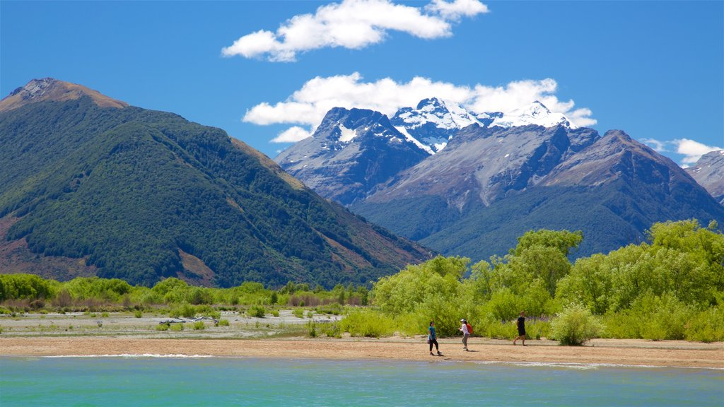 Glenorchy featuring mountains, a pebble beach and a lake or waterhole