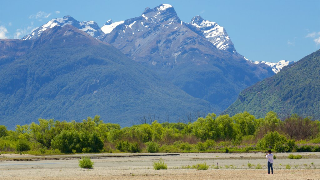 Glenorchy featuring mountains, a pebble beach and forest scenes