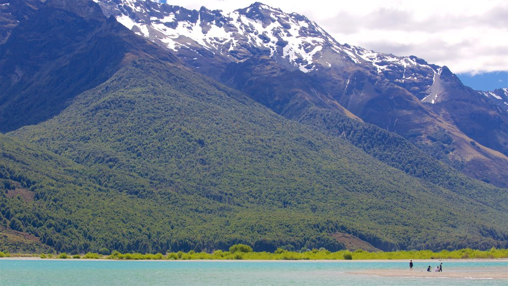 Glenorchy which includes mountains, a lake or waterhole and forest scenes