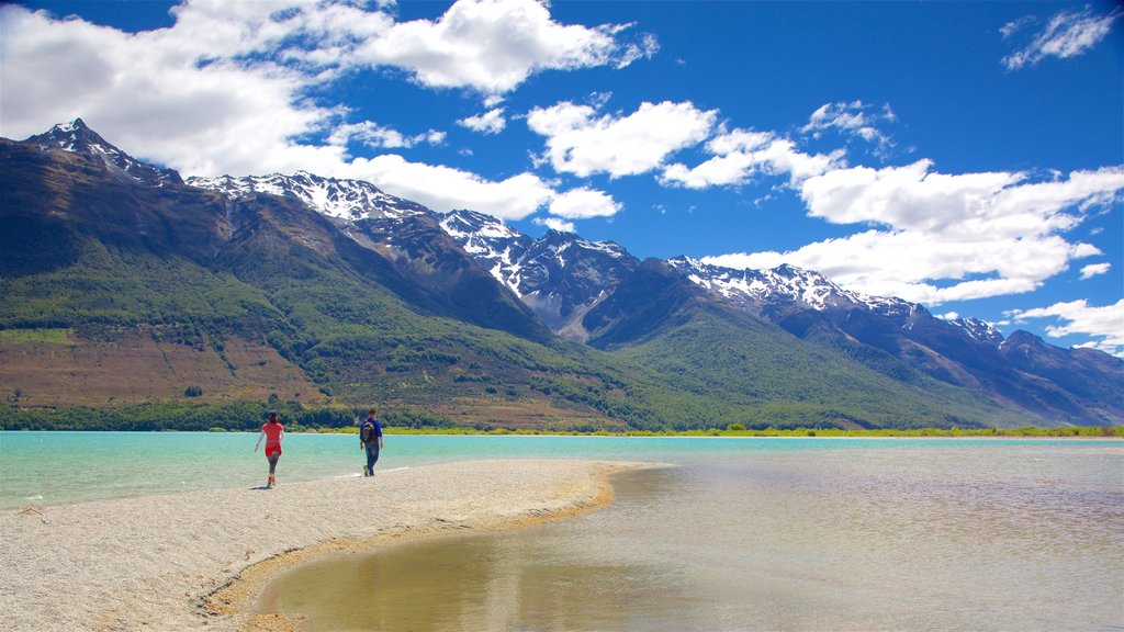 Glenorchy which includes mountains, forest scenes and a pebble beach
