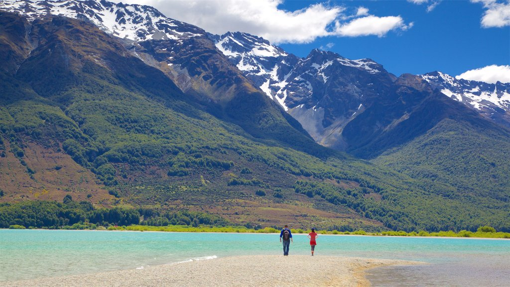 Glenorchy which includes forest scenes, a lake or waterhole and a pebble beach