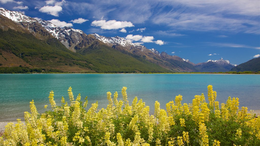 Glenorchy which includes a lake or waterhole, mountains and a pebble beach
