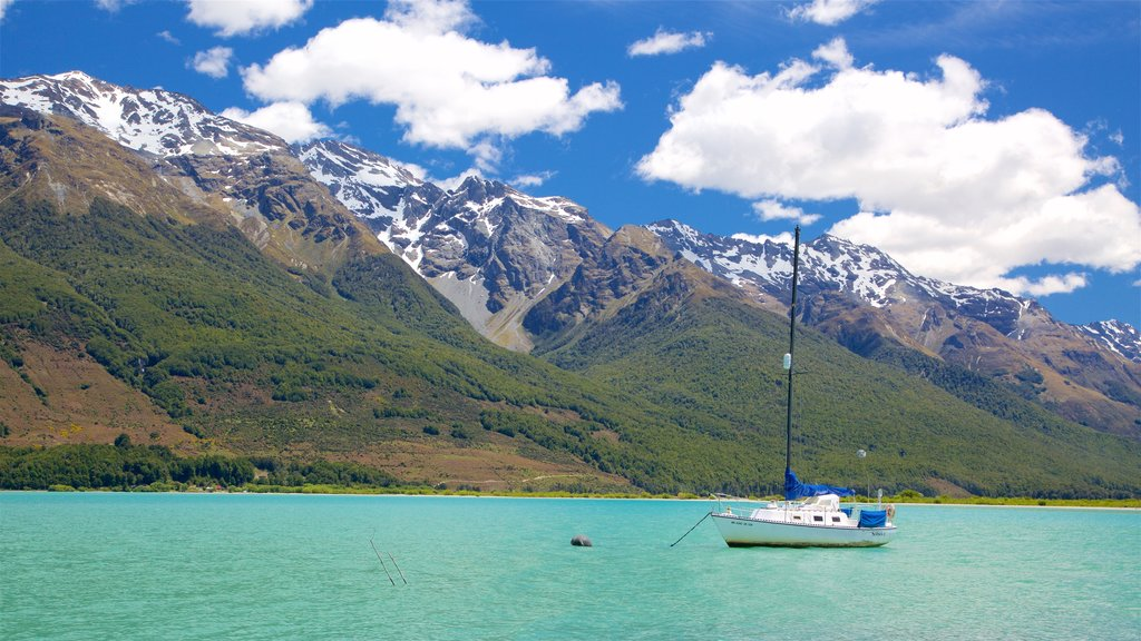 Glenorchy featuring mountains, sailing and a lake or waterhole