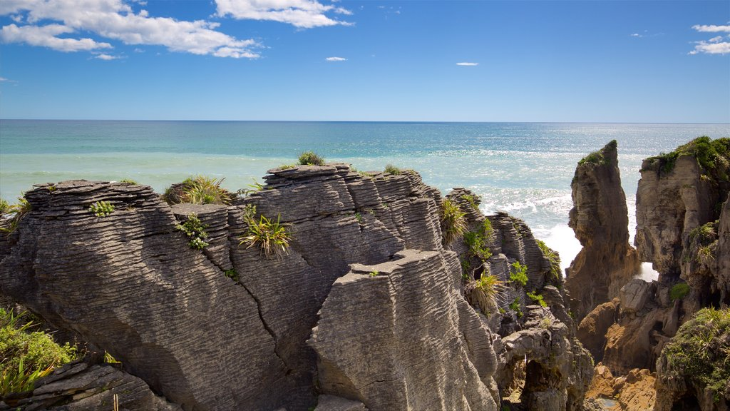 Pancake Rocks showing rugged coastline and a bay or harbor