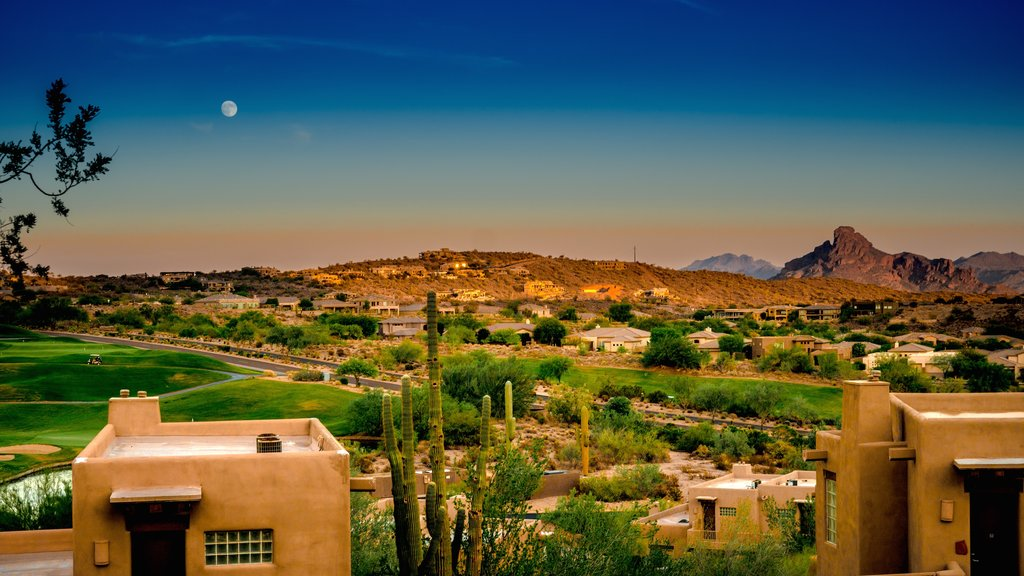 Fountain Hills showing tranquil scenes, a sunset and a small town or village