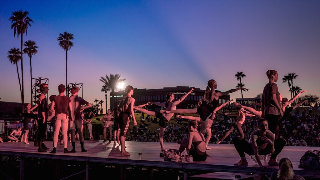 Fountain Hills featuring performance art, outdoor art and a sunset