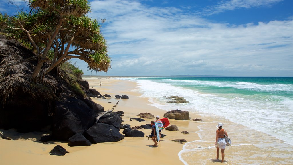 Rainbow Beach which includes a sandy beach and general coastal views as well as a family