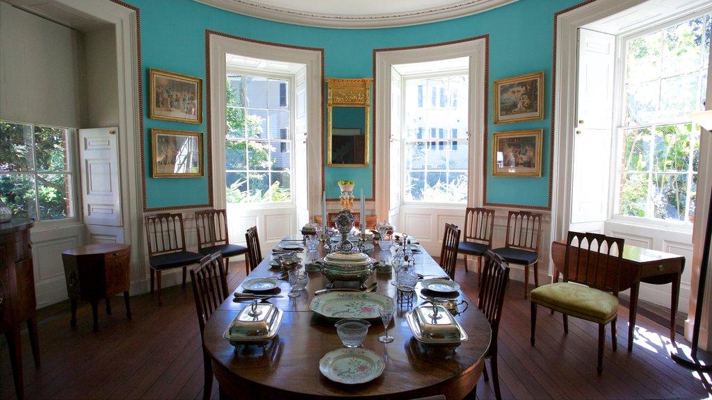 Nathaniel Russell House que inclui vistas internas e elementos de patrimônio