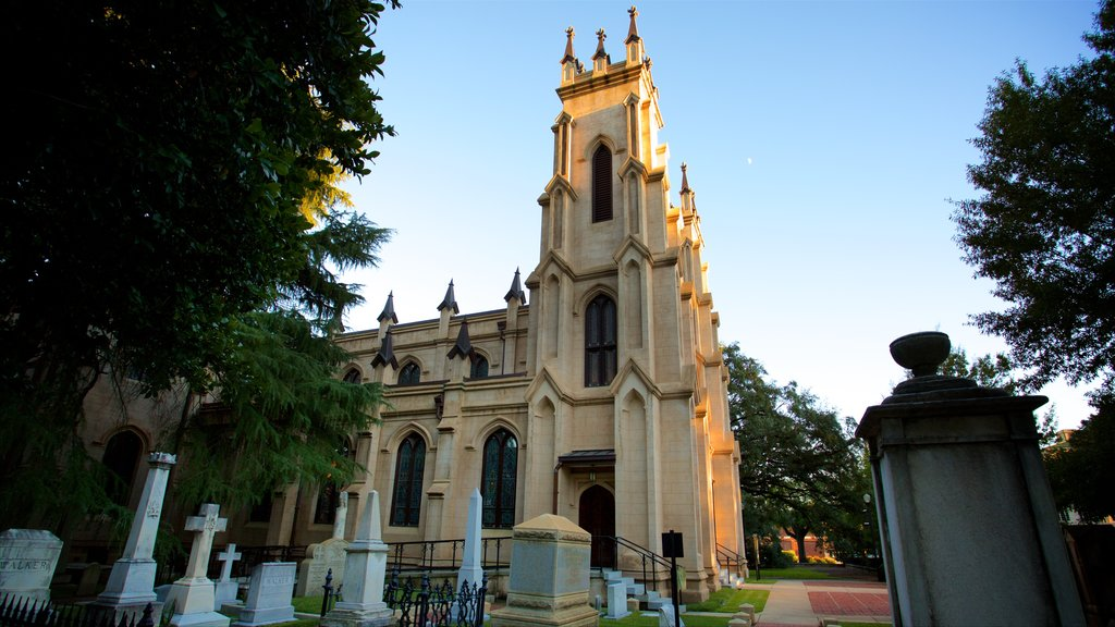 Trinity Episcopal Cathedral showing a church or cathedral, a cemetery and heritage architecture