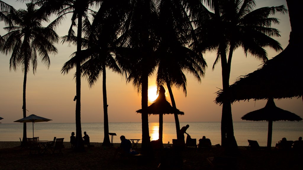 Phu Quoc Island which includes tropical scenes, a sunset and general coastal views