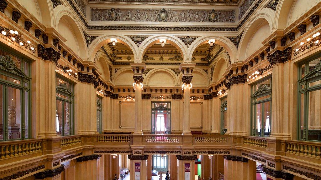 Teatro Colón que incluye vistas interiores y escenas de teatro