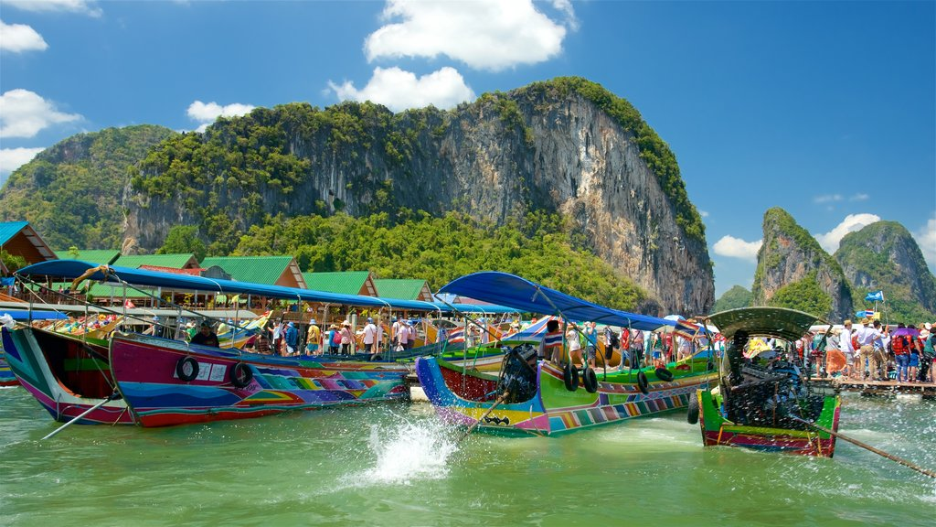 Phang Nga featuring a bay or harbor, rugged coastline and boating
