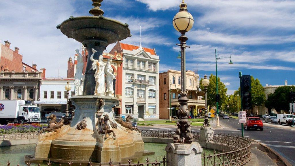 Bendigo featuring a fountain and street scenes