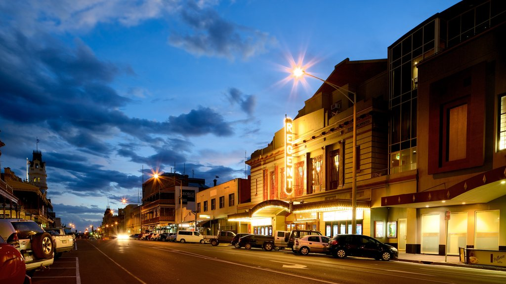 Ballarat featuring street scenes and a sunset