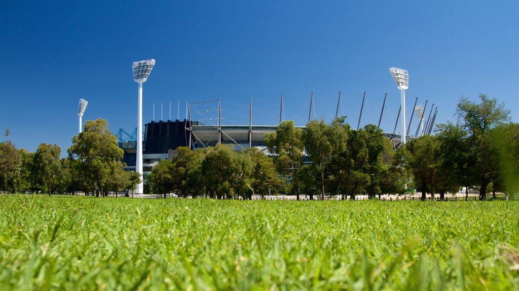 Melbourne Cricket Ground showing a park