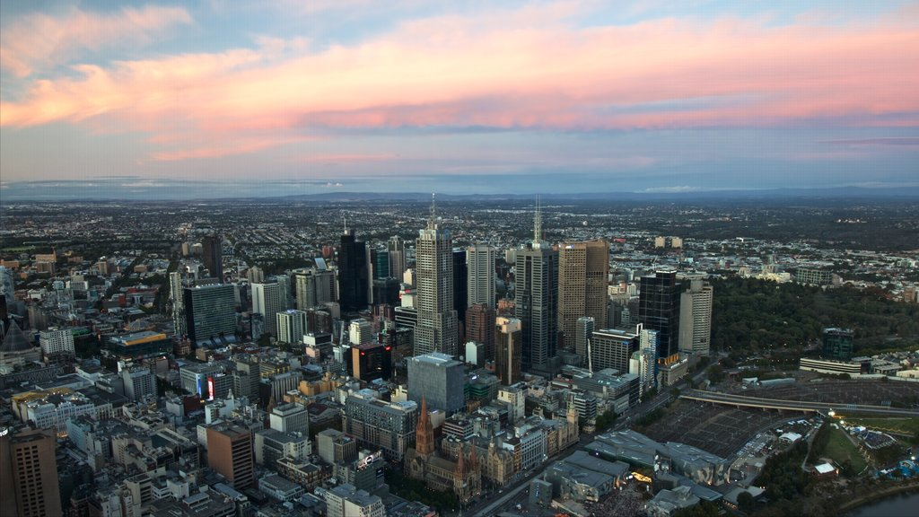 Eureka Tower featuring a sunset, a city and central business district