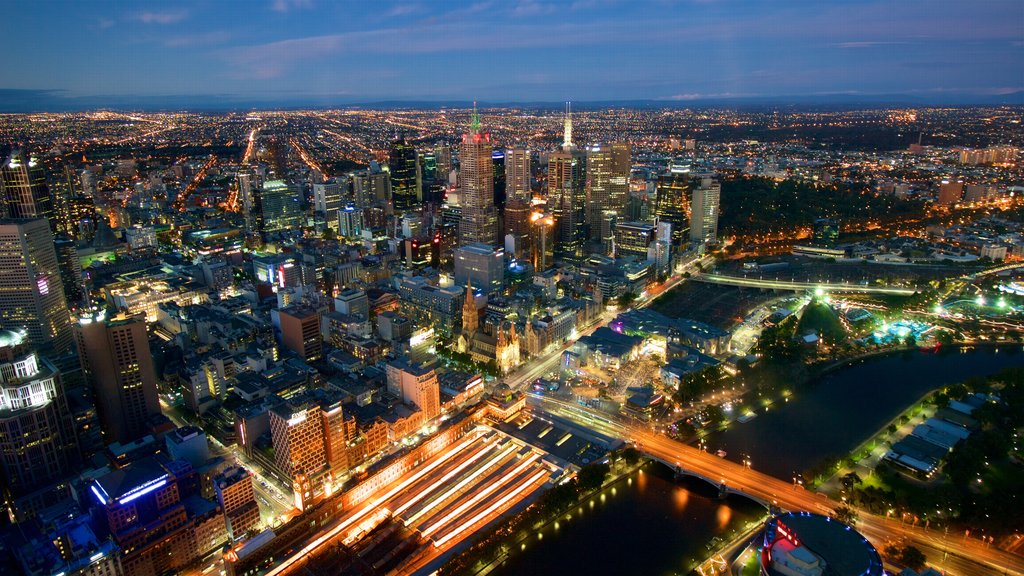 Eureka Tower featuring central business district, a city and night scenes