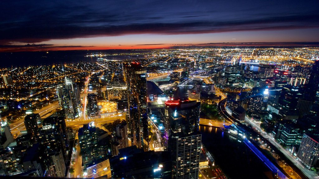 Southbank featuring landscape views, night scenes and a city