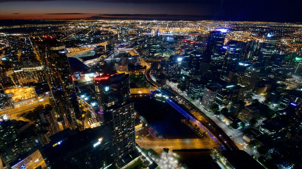 Eureka Tower showing night scenes, a city and cbd