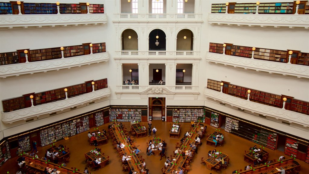 State Library of Victoria featuring heritage architecture, interior views and an administrative buidling