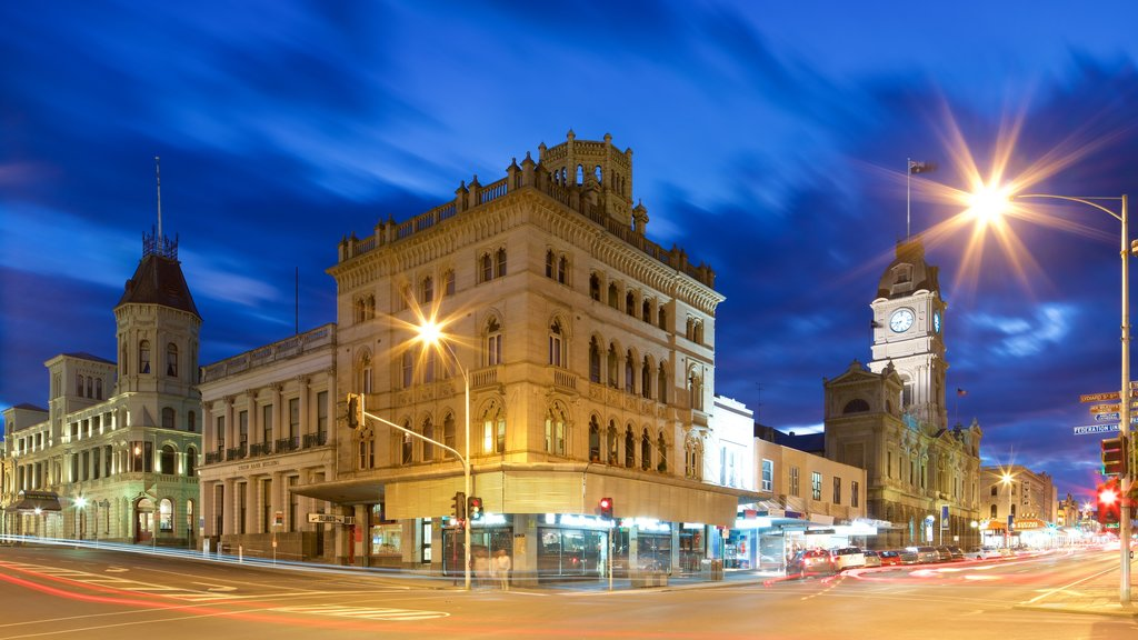 Ballarat showing night scenes and heritage architecture