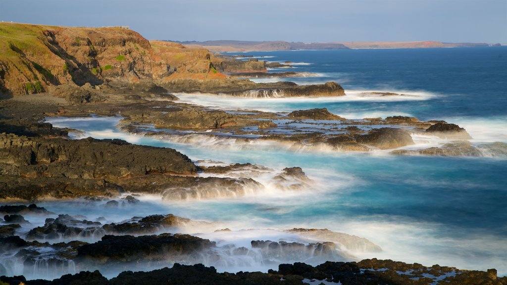 Phillip Island featuring rocky coastline, surf and a bay or harbor