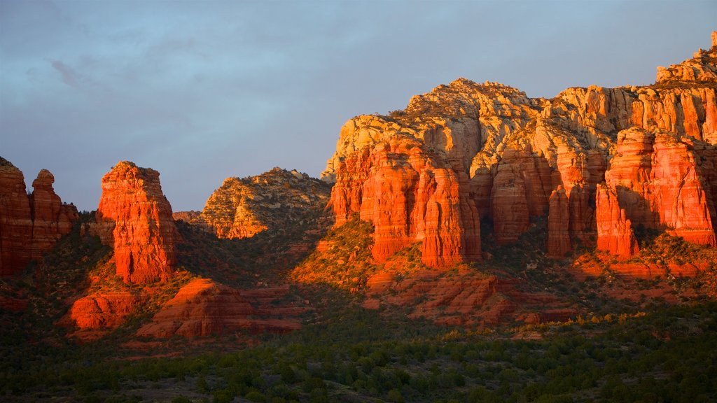 Sedona which includes a gorge or canyon and desert views