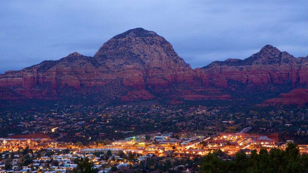 Sedona which includes night scenes, a gorge or canyon and desert views