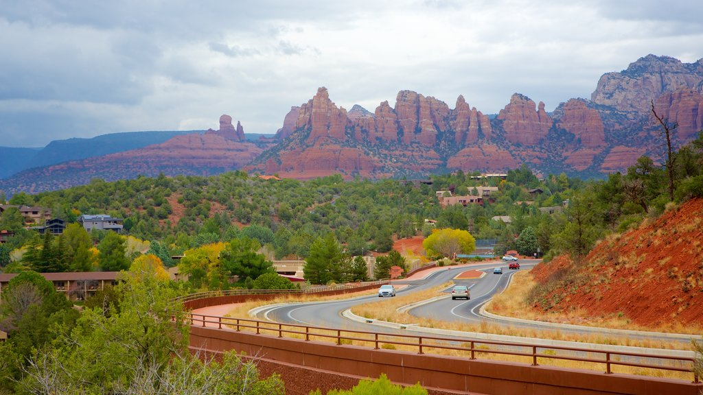 Sedona which includes desert views and a gorge or canyon