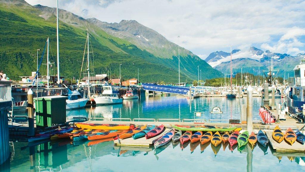 Valdez showing kayaking or canoeing, a marina and mountains