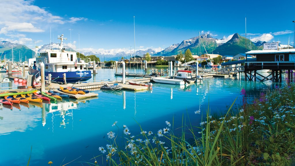 Valdez featuring boating, a marina and mountains