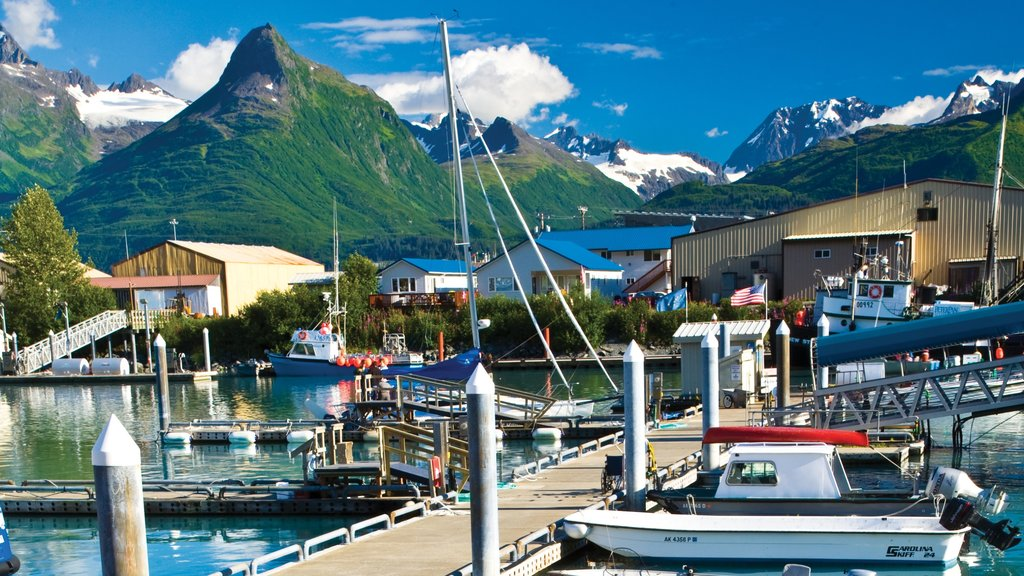Valdez showing a marina, boating and mountains