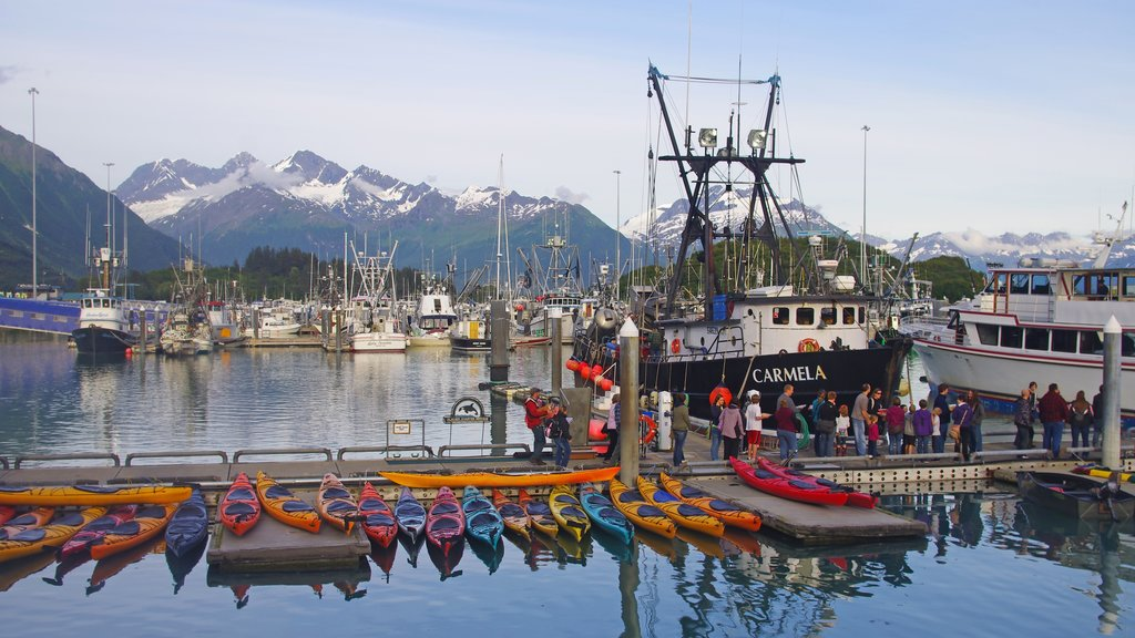 Valdez featuring mountains, a marina and kayaking or canoeing