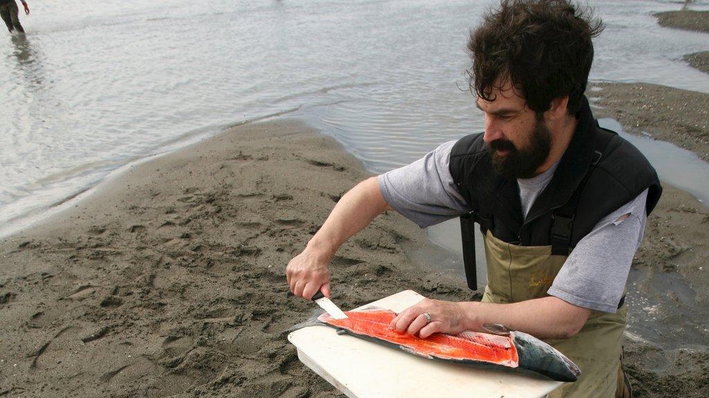 Kenai mostrando una bahía o puerto y pesca y también un hombre