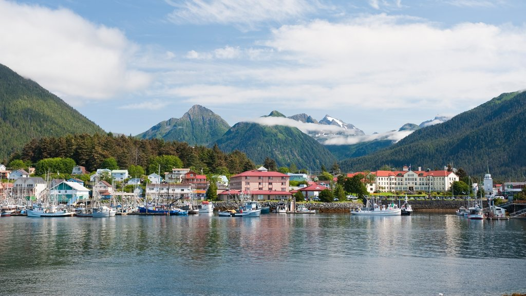 Sitka which includes mountains, a coastal town and a bay or harbor