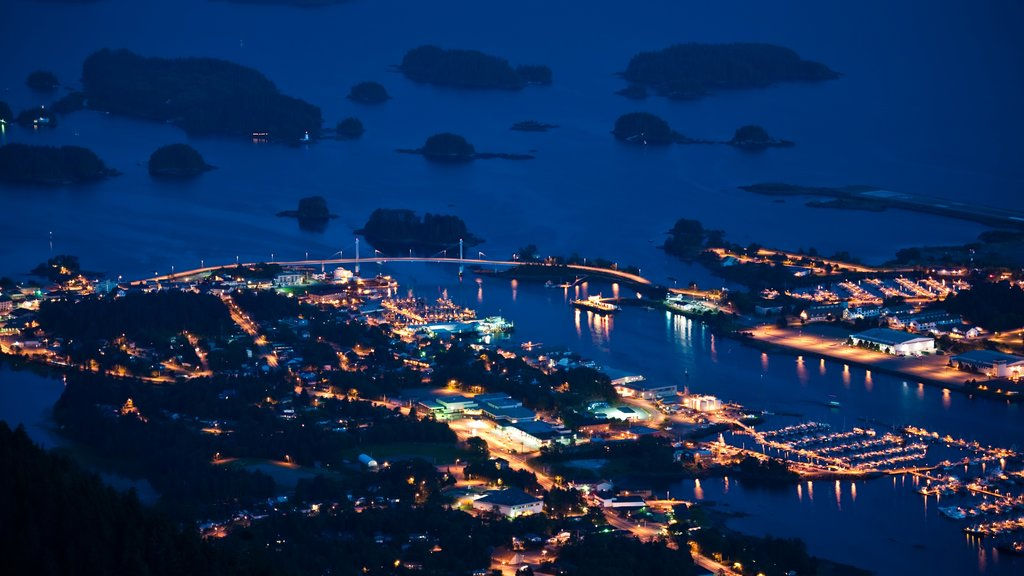 Sitka featuring night scenes, a bay or harbor and a marina