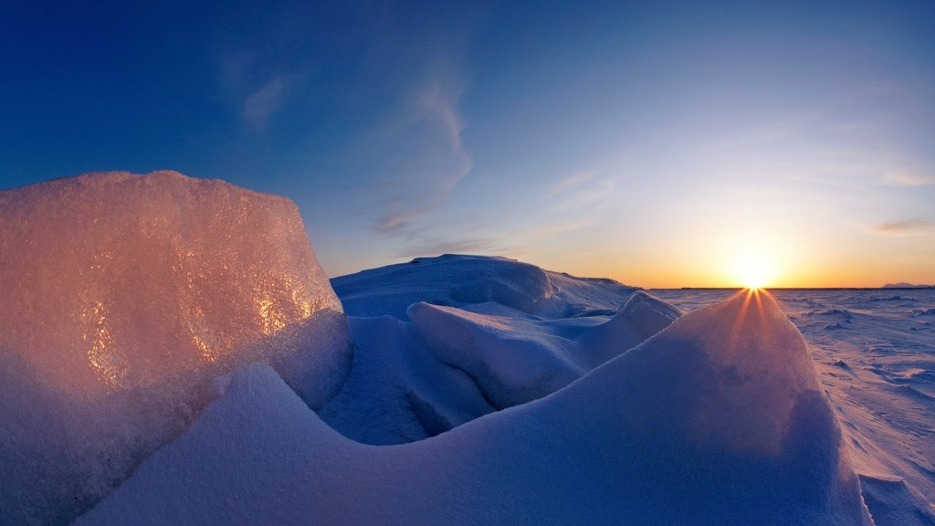 Nome showing a sunset and snow
